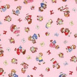 ผ้า cotton ญี่ปุ่นลายน้อง Daisy พื้นชมพู ขนาด 1/4 หลา (45 x 55 ซม.)