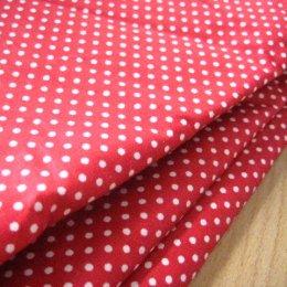 ผ้า cotton ไทย พื้นแดง จุด 2.5 มม.ขนาด 1/4 เมตร (50*55 ซม.)
