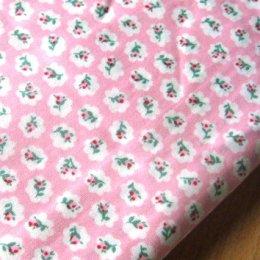 ผ้า cotton ไทย ลายดอกโทนชมพูเข้มขนาด 1 ซม. ขนาด 1/4 เมตร (50*55 ซม.)