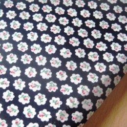 ผ้า cotton ไทย ลายดอกโทนสีกรม ขนาด 1 ซม. ขนาด 1/4 เมตร (50*55 ซม.)