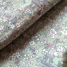 ผ้า cotton ไทย ลายปารีสโทนเขียว  ขนาด 1/4 เมตร (50*55 ซม.)