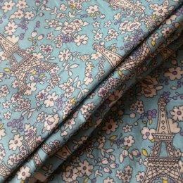 ผ้า cotton ไทย ลายปารีสโทนฟ้า  ขนาด 1/4 เมตร (50*55 ซม.)