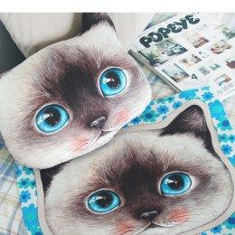 ผ้าฝ้ายผสมลินินเกาหลี หัวแมวเหมียว ตาฟ้า ขนาด 90 x 45 cm.