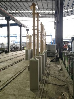 ฐานเสาคอนกรีตเสริมเหล็กเป็น accessories งานคอนกรีตของ โครงการวางท่อก๊าซ (Signage for gas pipe project)