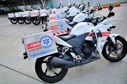 """""""กองทุนฮอนด้าเคียงข้างไทย"""" กับความคืบหน้า """"เตียงเคลื่อนย้ายผู้ป่วยติดเชื้อแบบแรงดันลบ""""  พร้อมประกาศให้การสนับสนุนบริการรถจักรยานยนต์พยาบาลฮอนด้าเพิ่มเติมอีก 10 คัน  เพื่อต้านภัยโควิด-19"""