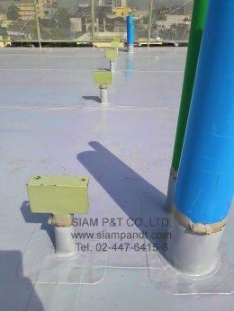 ติดตั้งระบบกันซึม EVALON WATERPROOF MEMBRANE  ร่วมกับ  ฉนวนกันความร้อน (XPS POLYSTYRENE FOAM) ขนาด 50 mm.