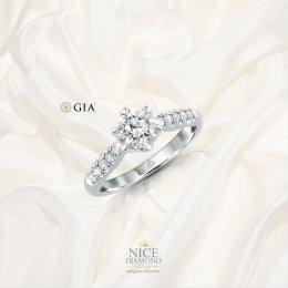 แหวนหมั้น แหวนแต่งงานเพชรชูใบเซอร์ GIA
