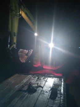 รถเทรลเลอร์ รับจ้าง ขอบคุณลูกค้าที่ไว้วางใจ ขนย้าย รถแบคโฮ KOMATSU PC138US ต้นทางพื้นที่แสมดำ กทม.