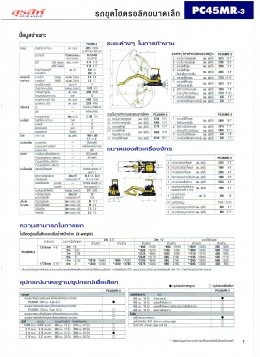 ข้อมูลรถขุดมือหนึ่ง  KOMATSU PC45MR-3