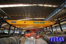 เครนเหนือศีรษะแบบคานคู่ น้ำหนักยก 35 ตัน กว้าง 15 เมตร ยกสูง 10 เมตร รางวิ่ง 162 เมตร