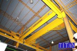 เครนเหนือศีรษะ แบบคานคู่ น้ำหนักยก 25 ตัน กว้าง 12 เมตร ยกสูง 10 เมตร รางวิ่งยาว 60 เมตร