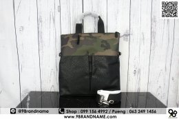 Coach Men's Charles Camo Dark Green Leather Foldover Tote Bag F29706