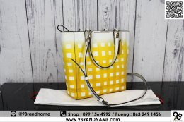 "Coach Yellow White Leather Tote  Size 15""L x 5""W x 11""H"