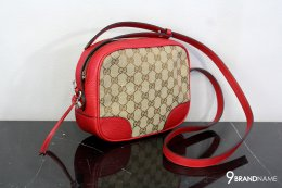 Gucci Bree Crossbody Bag Guccissima Canvas with red leather