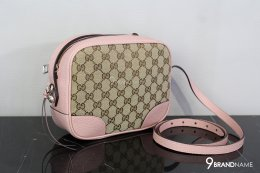 Gucci Bree Crossbody Bag Guccissima Canvas with light pink leather