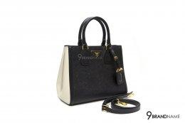Prada Saffiano Lux Bicolor Double-Zip Tote Bag Black white size 33
