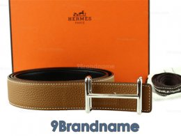 Hermes Belt 90 Leather Togo Gold Brown With Black Colors