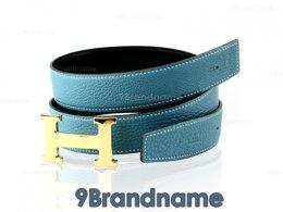 Hermes Belt 90 Leather Togo Blue With Black Gold Buckle