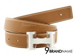 Hermes Belt 90 Calfskin Brown And Black H Buckle Silver
