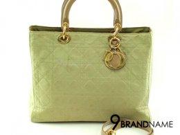 Christian Dior Lady Dior Size12 Nylon Beige Green GHW