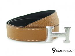 Hermes Belt 95 Leather Epsom Brown And Swift Black Silver