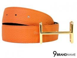 Hermes Belt Size 95 Togo Orange Swift Black