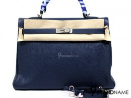Hermes Kally 35 Togo Leather Navy Blue PHW size29