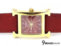 Hermes H Hour White Dial Red Leather Ladies Watch
