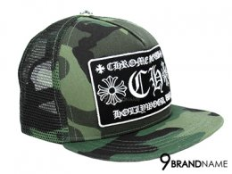 Chrome Hearts Trucker Cap with Snap Back Camouflage Hollywood CH with Black