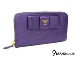 Prada Wallet Long Zip Bow Saffiano Viola 1M0506