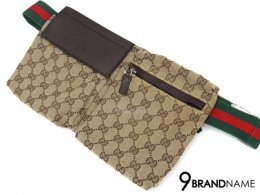 Gucci Belt Bag Brown Logo  Red Green Strap