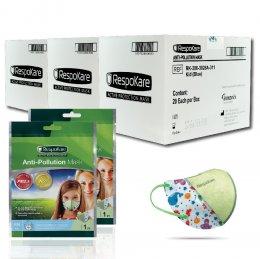 RespoKare หน้ากากป้องกันมลพิษและฝุ่นควัน สำหรับเด็ก สีฟ้า 3กล่อง/ 60 ชิ้น