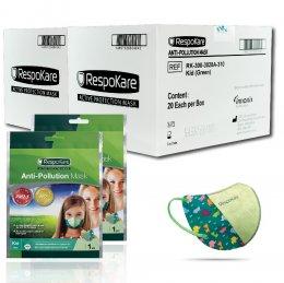 RespoKare หน้ากากป้องกันมลพิษและฝุ่นควัน สำหรับเด็ก สีเขียว 2กล่อง/ 40ชิ้น