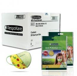 RespoKare หน้ากากป้องกันมลพิษและฝุ่นควัน สำหรับเด็ก สีเหลือง 1กล่อง/ 20ชิ้น