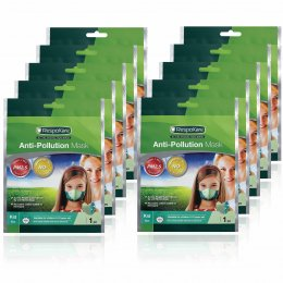 RespoKare หน้ากากป้องกันมลพิษและฝุ่นควัน สำหรับเด็ก สีเขียว จำนวน 10ชิ้น