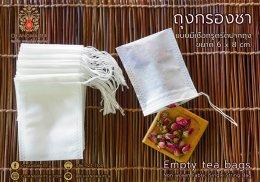 ถุงกรองชา แบบมีเชือกรูดรัดปากถุง ขนาด 6 x 8 cm