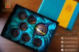 ชุดกิ๊ฟเซ็ท กล่องผ้าไหม (ชุดชงชาเซรามิก) สีฟ้า