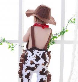 หมวกคาวบอย + ผ้าพันคอ + ชุดบอดี้สูทสำหรับเด็กทารก 3 ชิ้น