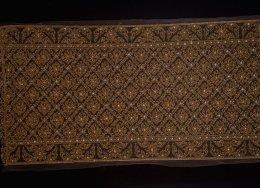 สไบผ้ากลิสเตอร์ปัก ลายพุ่มข้าวบิณฑ์ ปักสีโบราณ
