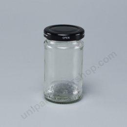 ขวดแก้วอาหาร 4 ออนซ์  (TG280) พร้อมฝาเกลียวล็อด สีดำ ขนาด 48 mm