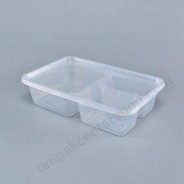 กล่องอาหาร PP ใส 3 ช่อง (AS324) พร้อมฝา (inj)