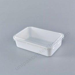 กล่องอาหาร ขนาด 250 gm PS สีขาว พร้อมฝา PET ใส