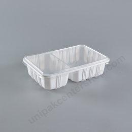 กล่องอาหาร 2 ช่อง PP ขาว+ฝา PET (AN)