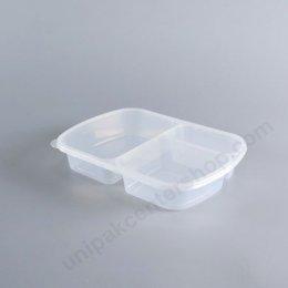 กล่องอาหาร PP ใส 3ช่อง (800ml) + ฝาใส
