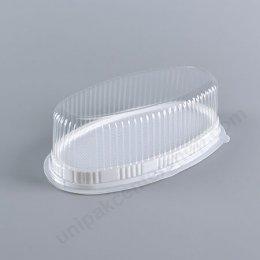 กล่องเบเกอรี่สีวงรี(E111)ฐานขาว+ฝาใส