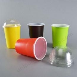 ถ้วยน้ำดื่ม PP 115-10 ความจุ 1,000 ml (เขียว,แดง,เหลือง,น้ำตาล) + ฝาโดมเจาะบาก