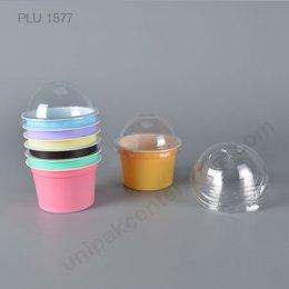 ถ้วย PP # 75-100 สีชมพู ม่วง ส้ม เหลือง เขียว ฟ้า น้ำตาล + ฝาโดม PET   (PP CUP + ARCH LID)