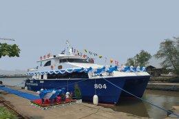พิธีปล่อยเรือทรัพยากรทางทะเลและชายฝั่ง 804 (เรือพะยูน) ลงน้ำ