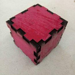 กล่องลูกบาศก์ ขนาด 4x4x4 cm สีแดง