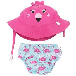กางเกงผ้าอ้อมว่ายน้ำ+หมวกกันแดด Zoocchini  - Flamingo